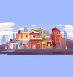 Ghetto empty street with ruined abandoned houses vector