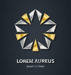 Gold and silver star logo award 3d icon metallic vector