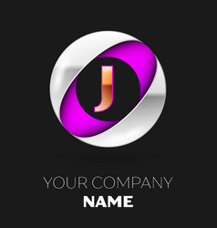 golden letter j logo in the silver-purple circle vector image