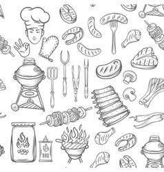 Hand drawn seamless pattern barbecue vector