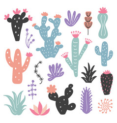 Hand drawn wild cactus flowers tropical plant set vector