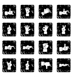 Hand gesture set icons grunge style vector image vector image