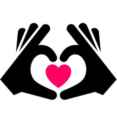 Hands with heart icon two-tone silhouette vector