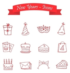 Happy New Year icons art vector