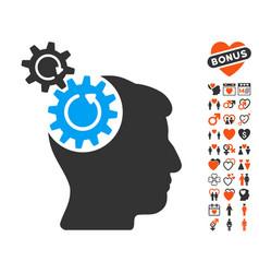 Head cogs rotation icon with dating bonus vector