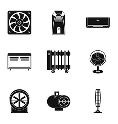 Heating cooling air icon set simple style vector