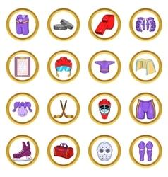 Hockey Icons set cartoon style vector image
