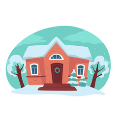 House and yard in winter season rural landscape vector