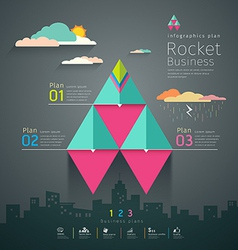 Info graphic business triangle rockets plan vector