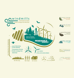 Infographics renewable source of wind energy vector