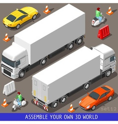 Isometric Flat 3d Vehicle Vespa Truck Set vector