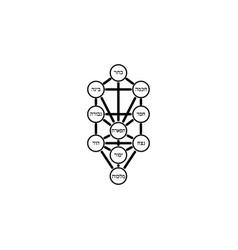 Kabbalah tree life ancient jewish symbol sign vector