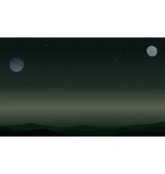 Landscape of star and planet space vector