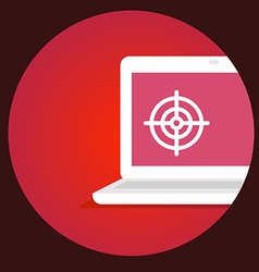 laptop with the target on the screen on a re vector image