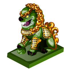 Lion figurine made jade isolated on white vector