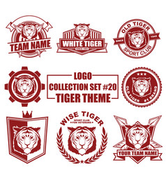 logo collection set with tiger theme vector image