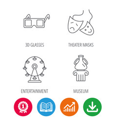 museum ferris wheel and theater masks icons vector image