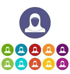 Muslim women wearing hijab set icons vector image