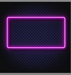Neon light rectangular banner light vector