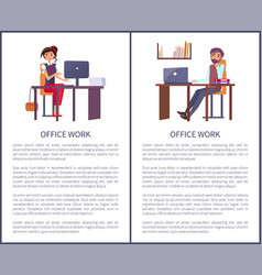 office work banners set business people man woman vector image