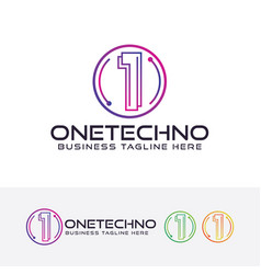 One techno logo vector