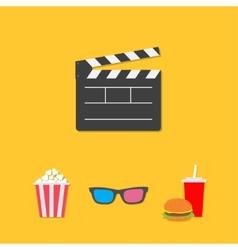 Open movie clapper board 3D glasses popcorn soda vector