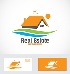 Orange real estate house logo icon vector