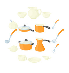 pastry set icons cartoon style vector image