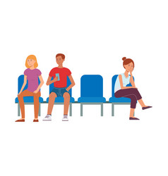 people sitting at chair in airport vector image