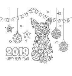 pig simbol of new year 2019 in zentangle inspired vector image