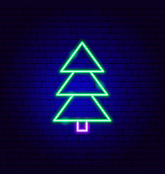 Pine tree neon sign vector