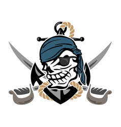 pirate skull with anchor and swords vector image