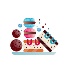 Plate with appetizing desserts chocolate cookies vector