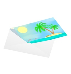 Postcard with sea views in an envelope vector image