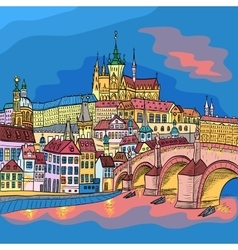 Prague Castle and Charles Bridge vector