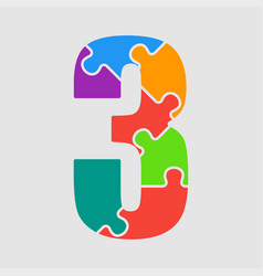 puzzle jigsaw figure or number - 3 gigsaw vector image