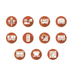 Railroad transportation round flat icons vector