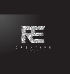 Re r e letter logo with zebra lines texture vector