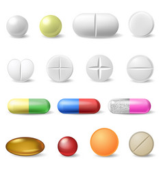 realistic medical pills medicine healthcare vector image