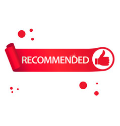 recommended banner with thumbs up paper ribbon vector image