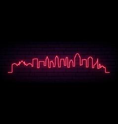 red neon skyline cincinnati city bright vector image