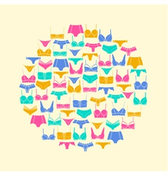 Round composition of lingerie elements vector image