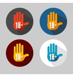 round icon 18 sign like hand vector image