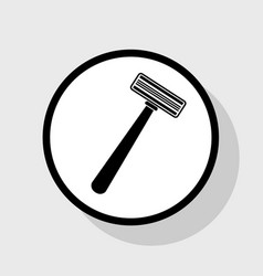 safety razor sign flat black icon in vector image