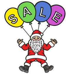 santa claus advertises discounts on air balloons vector image