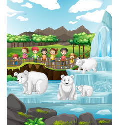 Scene with polar bears and children at zoo vector