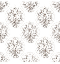 Seamless pattern from outline drawings of space vector