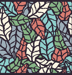 Seamless pattern with hand drawn natural leaves vector