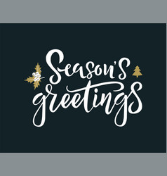 season greetings white calligraphy phrase vector image