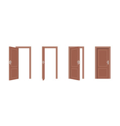 set doors opened and closed vector image